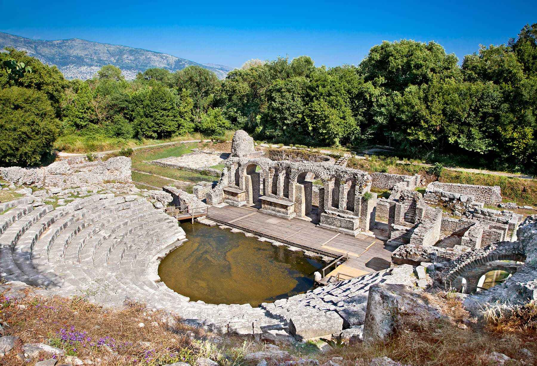 butrinti amphitheater on archaeological park